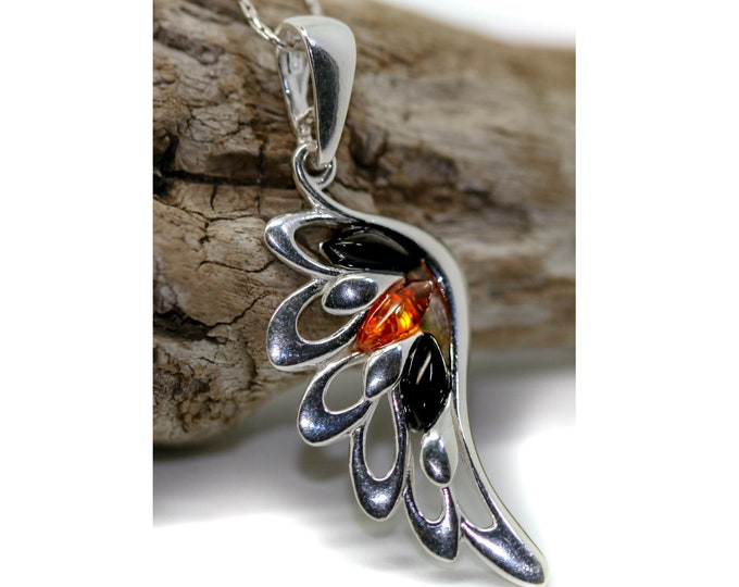 Angel's Wing. Whitby Jet and Amber pendant. Sterling Silver pendant, British jewellery. Contemporary jewelry. Genuine Whitby Jet.