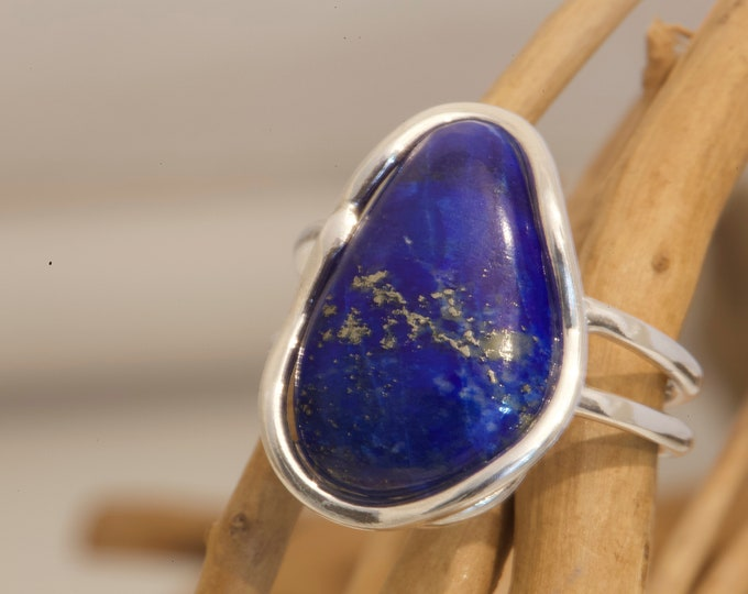 Lapis Lazuli Ring. Sterling Silver setting. Lapis jewelry, silver ring, large ring. genuine Lapis. Designer jewelry. Blue ring. Statement.