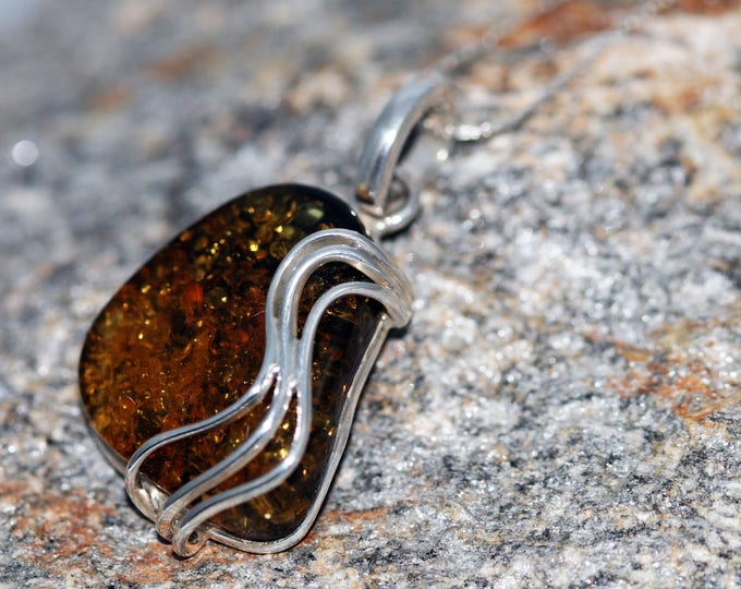 Baltic Amber Pendant in Sterling Silver. Amber necklace, statement necklace. Baltic Amber jewelry. Silver necklace. Perfect gift for her 925