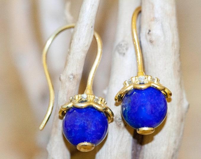 Lapis Lazuli & Gold. Dangle earrings. Lapis spheres. Unique jewelry. Regency-Era earrings. Dangle earrings. Ideal gift. Zirconia decorated.