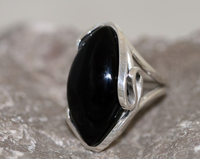 Deep Black Onyx Ring fitted in Sterling Silver setting. Onyx gemstone jewellery, silver ring. Perfect gift for her. Design jewelry.