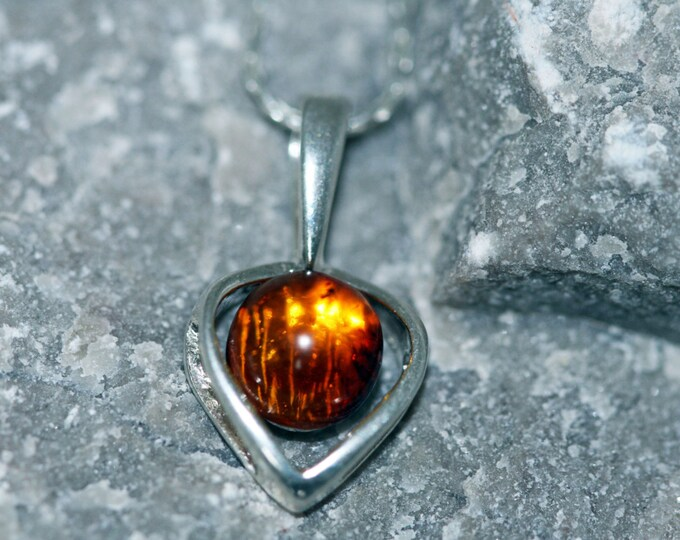 Baltic Amber Pendant in Sterling Silver. Amber necklace, dainty necklace. Baltic Amber jewelry. Silver necklace. Perfect gift for her.