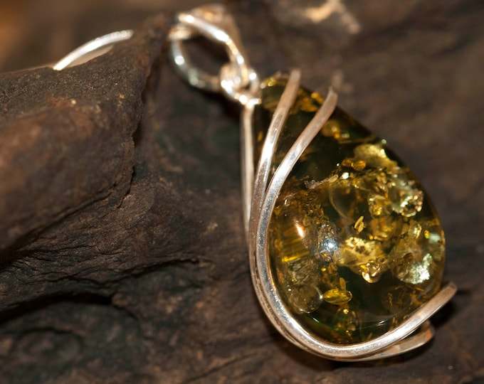 Baltic Amber Pendant in Sterling Silver. Green Amber necklace, silver jewelry. Baltic Amber jewelry. Silver necklace. Perfect gift for her.