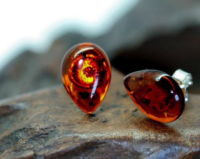Baltic Amber Earrings in Sterling Silver, Plain amber, Baltic amber stud earrings, Summer jewelry, Butterfly earrings, Amber jewelry
