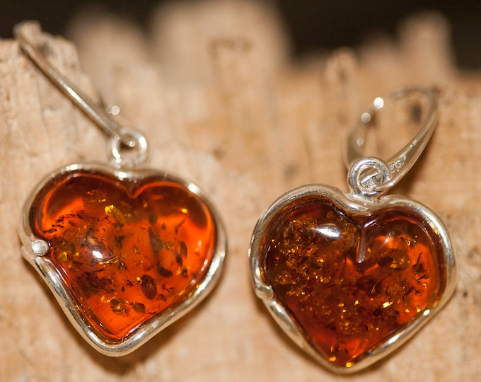 Heart shaped amber earrings fitted in a Sterling Silver setting. Valentine's Day gift .Amber jewelry, heart shape. amber earrings