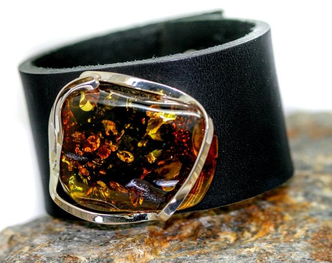 Leather & Cognac Amber/ Baltic amber bracelet / Leather bracelet /big  bracelet /  Perfect gift for her/ Anniversary gift/artistic bracelet