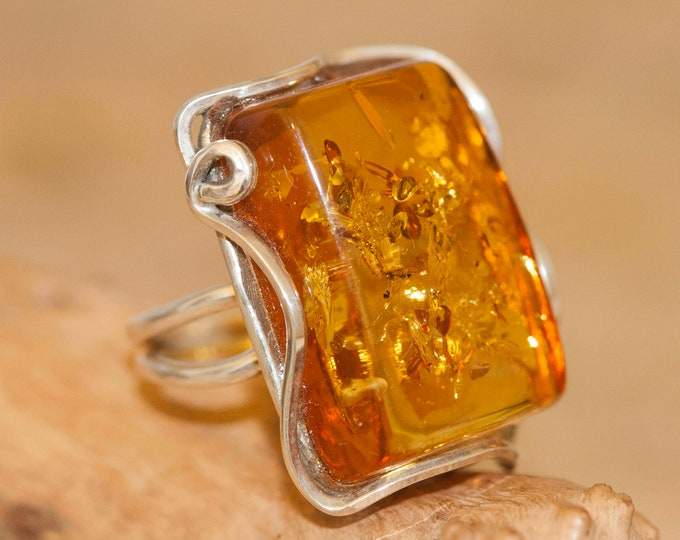 Baltic amber ring. Baltic amber & sterling silver, unique ring, statement ring, contemporary ring, rectangle designer ring, Christmas gift