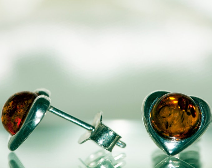 Heart shaped studs. Cognac amber earrings. Sterling silver studs, amber jewelry, small studs, amber earrings, Valentine's Day gift. Handmade