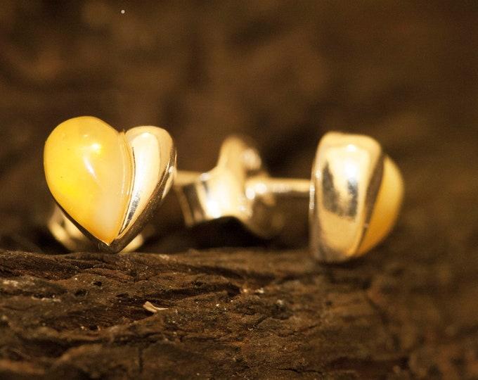 Heart Amber Earrings in Sterling Silver,studs, Baltic amber stud earrings, Summer jewelry, Butterfly earrings, heart earrings