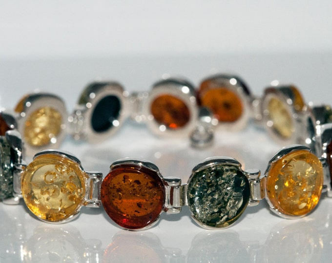 Amber bracelet. All kinds of Baltic amber in sterling silver setting.