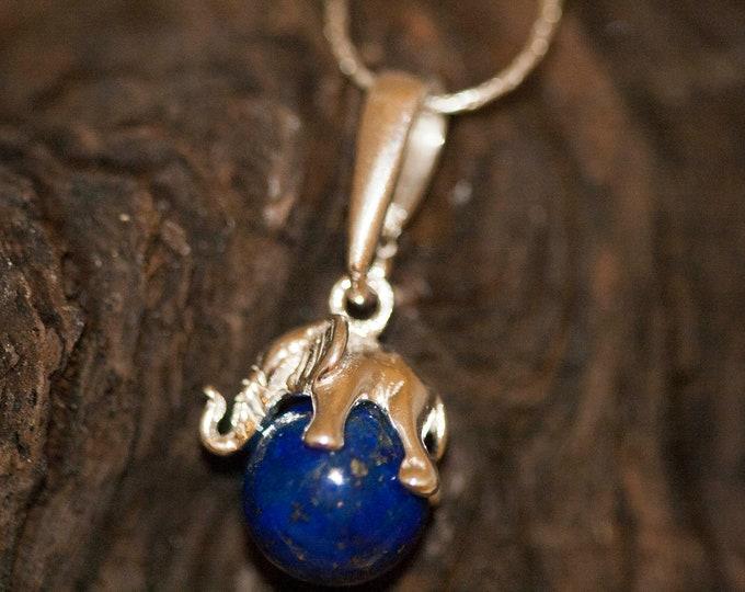Elephant pendant in Sterling Silver. Lapis Lazuli pendant, silver jewelry. Silver necklace. Elephant dainty pendant, lapis lazuli