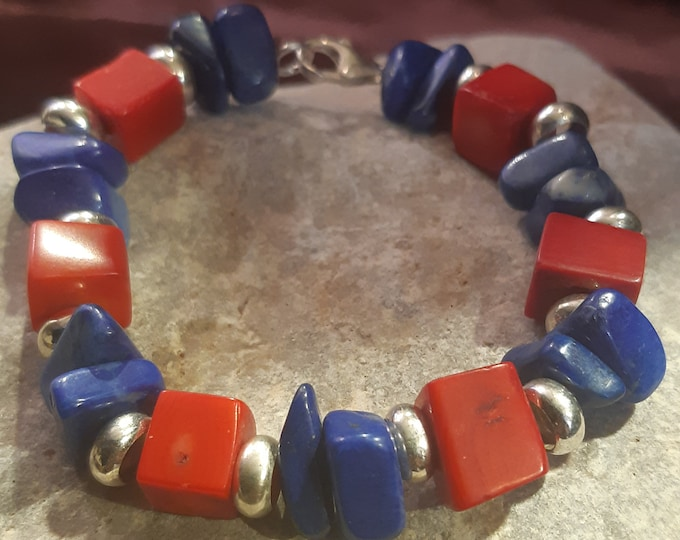 Lapis and coral bracelet, Responsibly sourced coral and Lapis Lazuli, organic jewelry, sterling silver, unique bracelet