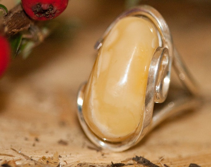 Baltic amber ring. Rare, milky amber & sterling silver, unique ring, statement ring, contemporary ring, designer ring, Christmas gift.
