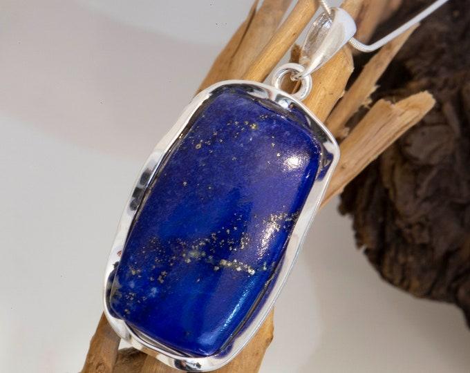Lapis Lazuli & sterling silver pendant. Lapis Lazuli necklace. Design jewelry. Contemporary jewelry. Hand made pendant. Blue pendant. Unique