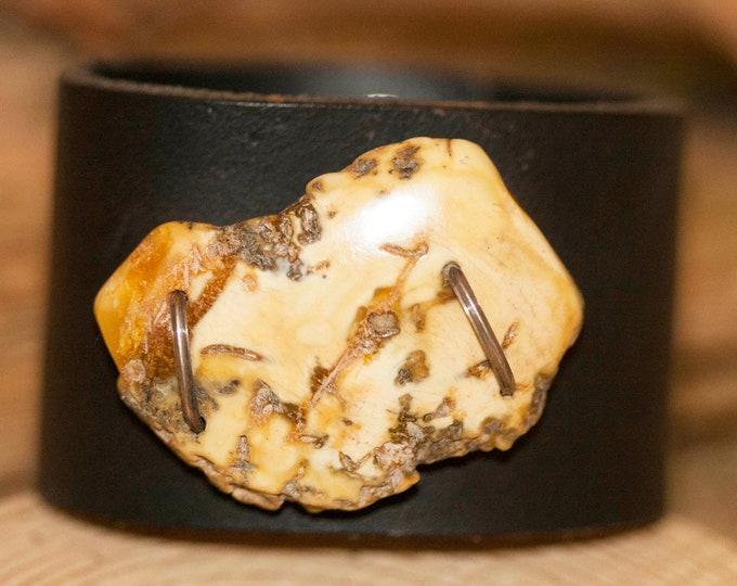 Leather & Milky Amber, Baltic amber bracelet, Leather bracelet, big bracelet,  Perfect gift for her, Anniversary gift, artistic bracelet
