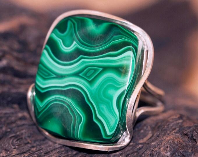 Malachite fitted in sterling silver setting. Silver ring, big ring. Statement rings. Malachite rings. Designer jewelry. Contemporary design.