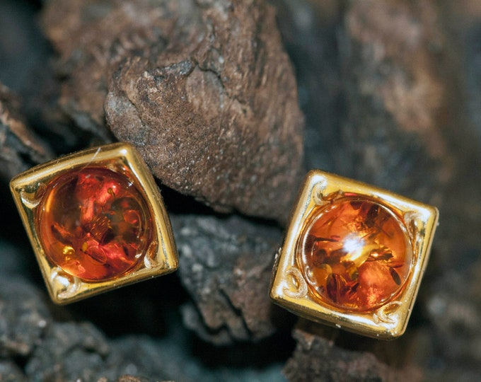 Amber & Gold. Baltic amber earrings, gold earrings. Perfect gift for her. Amber jewelry. Geometric studs. Silver jewelry. Stud earrings.