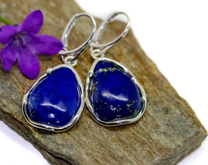 Lapis Lazuli earrings fitted in a Sterling Silver setting. Silver earrings Lapis stone Perfect gift for her. Contemporary  jewelry