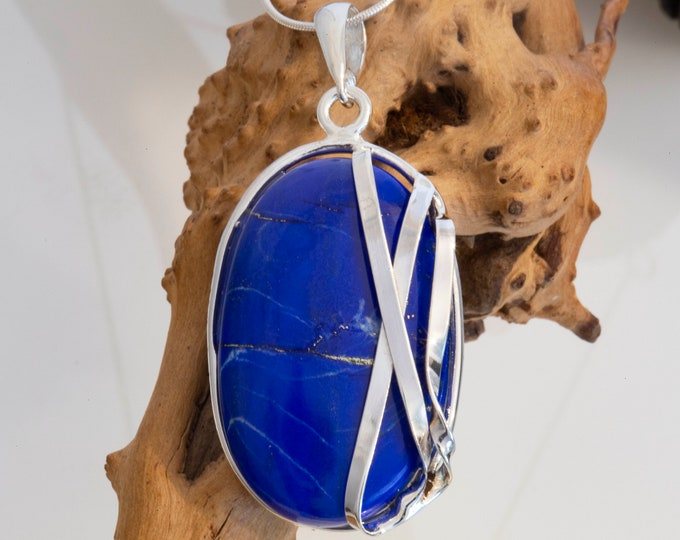 Lapis Lazuli & sterling silver pendant. Lapis Lazuli necklace. Designer jewelry. Contemporary. Handmade pendant. Blue pendant. Unique.
