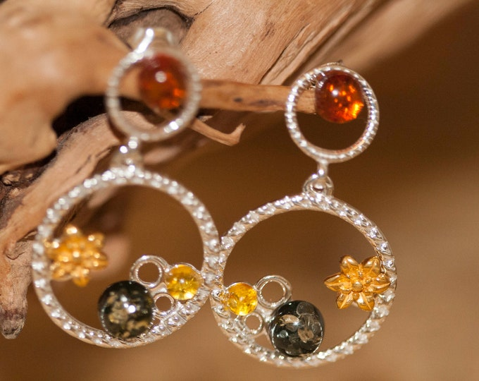 Amber Earrings fitted in a Sterling Silver setting. Silver earrings, amber stone. Perfect gift for her. Amber jewellery, gold jewellry.