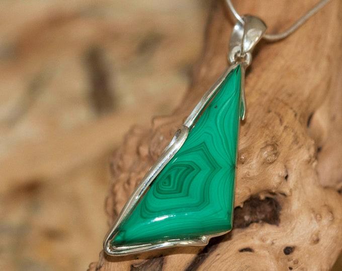 Malachite Pendant in Sterling Silver, Perfect gift for her, Malachite necklace, Silver pendant, Malachite jewelry, malachite