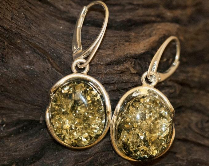 Green amber earrings. Sterling silver & green amber earrings. Dangle earrings. Long earrings. Green amber. Large green earrings, lever back