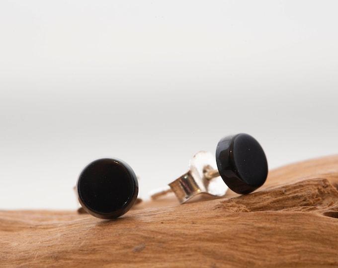 Black Onyx earrings. Sterling Silver studs. Onyx studs. Silver earrings. Onyx jewelry. Stud earrings. Round earrings. Black earrings.