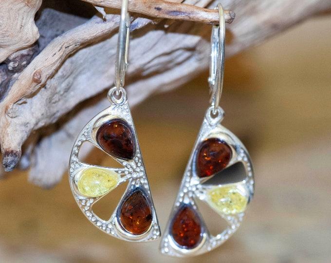 Multicolor amber earrings. Sterling silver earrings. Dangle earrings. Big earrings. Cognac and yellow amber earrings. Multicolor earrings.