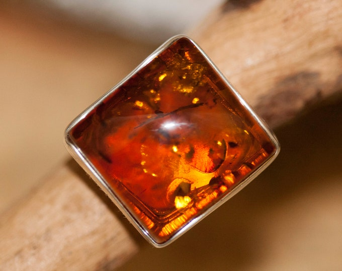 Baltic amber ring. Square piece of amber & sterling silver, unique ring, statement ring, contemporary ring, designer ring, Christmas gift