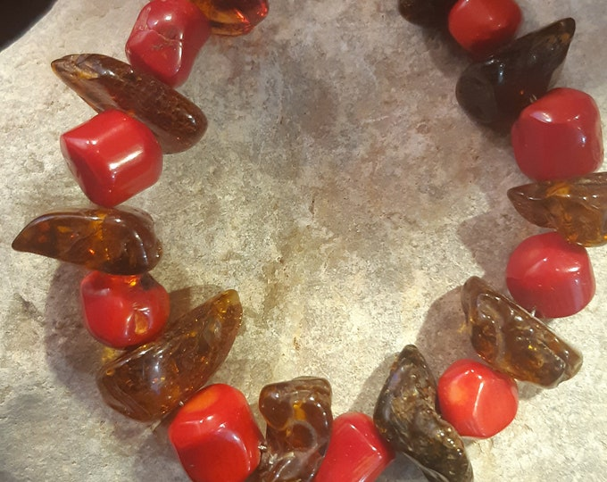 Amber and coral bracelet,Responsibly sourced coral and natural Baltic amber, organic jewelry, sterling silver, unique bracelet