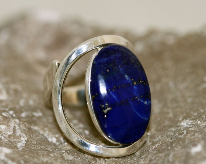 Beautiful Lapis Lazuli Ring fitted in Sterling Silver setting. Lapis jewellery, silver ring, signet ring. Perfect gift. Design jewelry.
