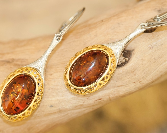Amber & Gold. Classic cognac amber earrings, gold and silver dangle  earrings. Perfect gift for her.Amber jewelry. Handmade jewelry.