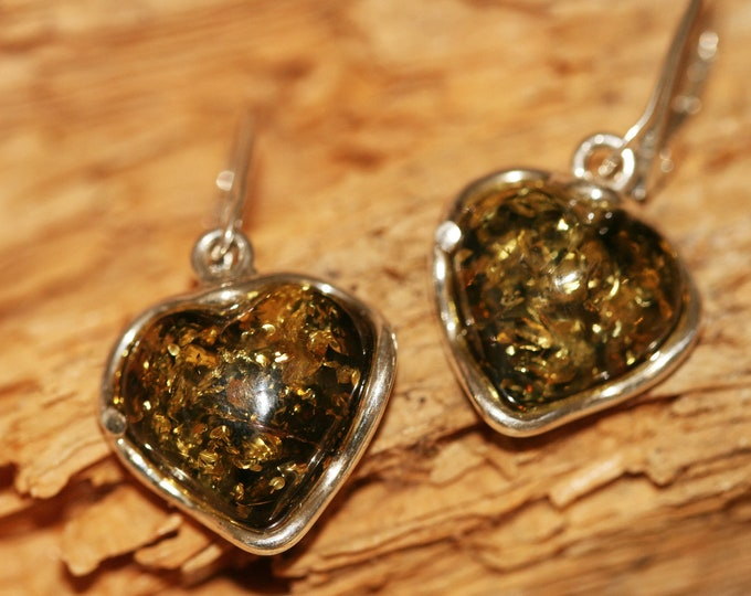 Heart shaped amber earrings fitted in a Sterling Silver setting. Valentine's Day gift .Amber jewelry, heart shape.green amber earrings