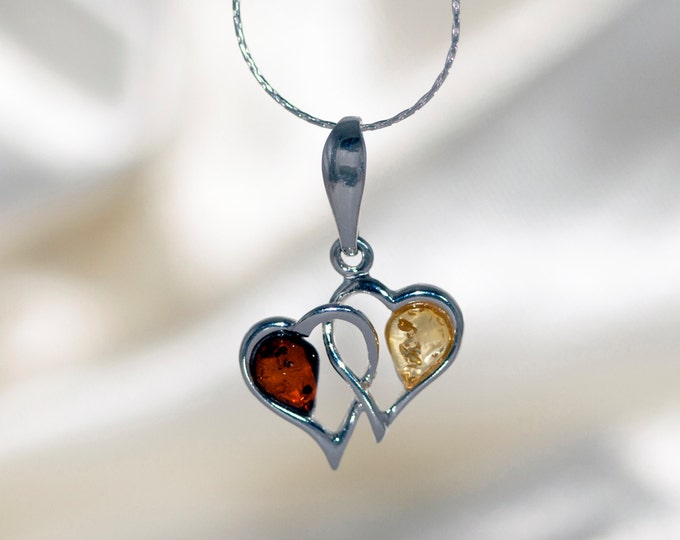 Heart shaped Baltic amber pendant, silver necklace. Valentine's Day gift. Sterling silver.Amber jewelry. Handmade jewelry.multicolor pendant