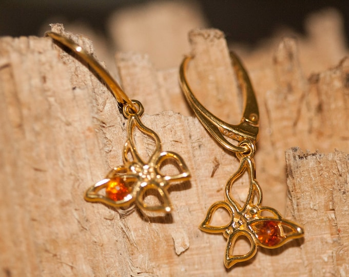 Amber & Gold. Butterfly amber earrings, gold earrings. Perfect gift for her.Amber jewelry. Handmade jewelry. Silver jewelry.Dangle earrings.