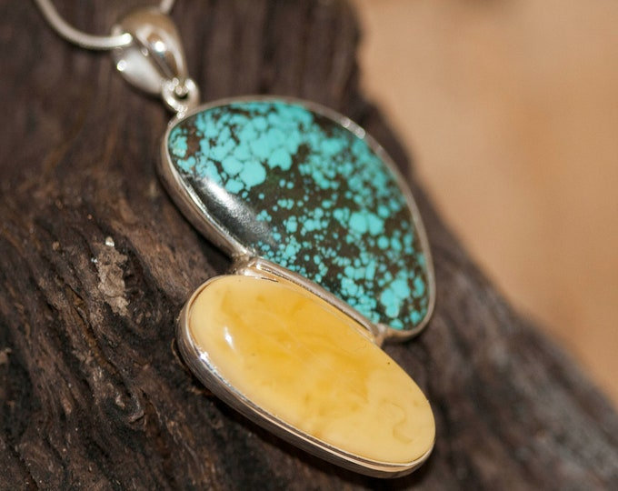 Unique, designer large pendant, turquoise and amber in sterling silver, gift for her, two stones in sterling silver. Turquoise jewelry