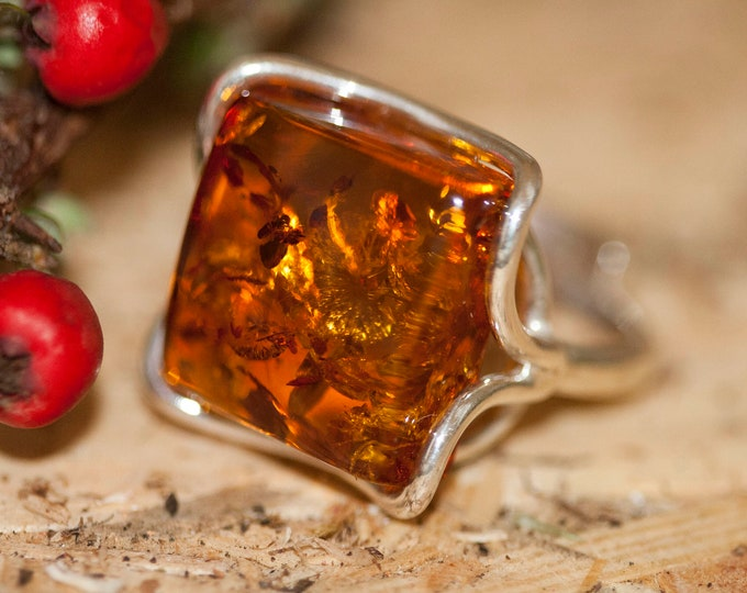 Baltic amber ring. Baltic amber & sterling silver, unique ring, statement ring, contemporary ring, square designer ring, Christmas gift