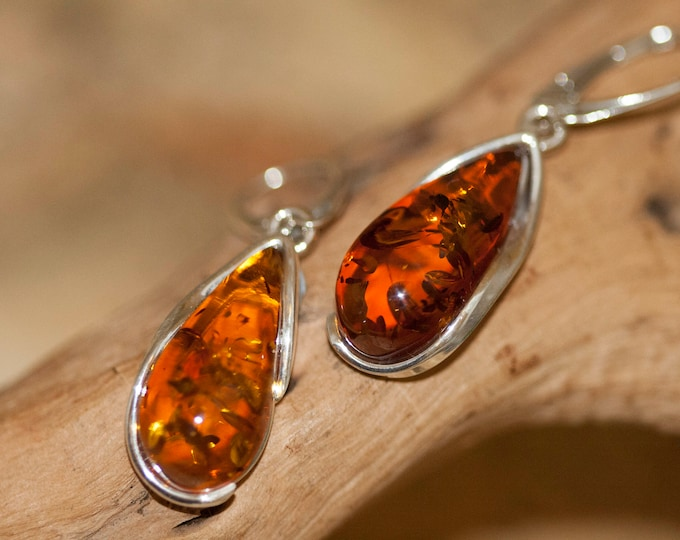 Baltic Amber Earrings fitted in a Sterling Silver setting. Big silver earrings, amber stone. Perfect gift for her. Amber jewellery, jewellry