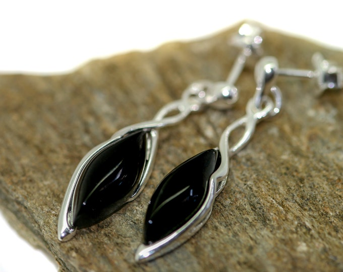 Whitby Jet Earrings. Sterling Silver Earrings, British jewellery. Contemporary jewelry. Perfect gift. Genuine Whitby Jet. Celtic design