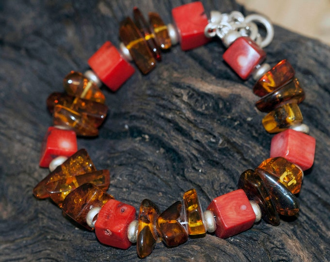 Amber and coral bracelet ,Responsibly sourced coral and natural Baltic amber, organic jewelry, sterling silver, unique bracelet, adjustable