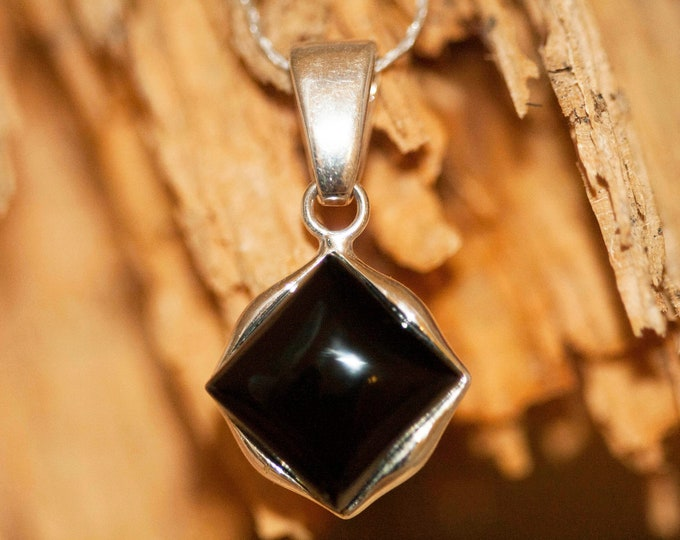 Black Onyx Pendant. Sterling Silver Necklace, Contemporary British jewelllery. Onyx jewelry. Square shaped pendant. Genuine Black Onyx