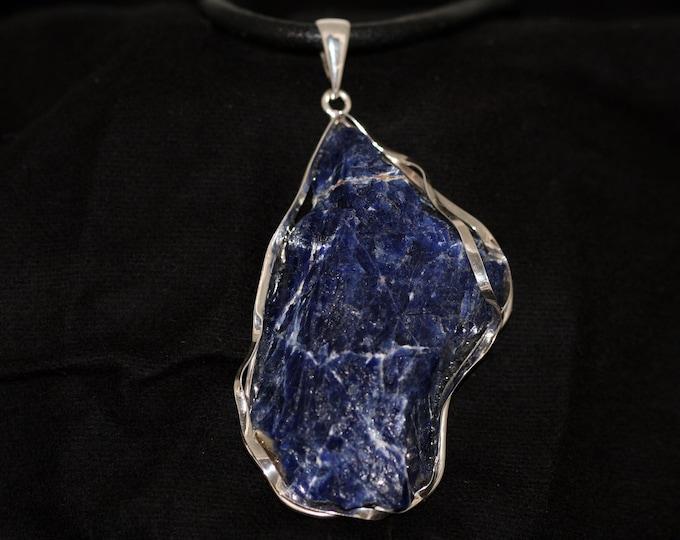 Unique, designer large pendant, sodalite in sterling silver, gift for her, sodalite in sterling silver, sodalite pendant.