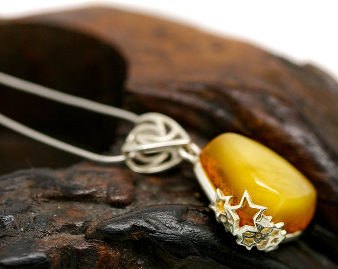 Pretty Butterscotch Amber Pendant. Sterling Silver Necklace, Milky Amber jewelllery. Contemporary jewelry. Perfect gift. Baltic Amber.
