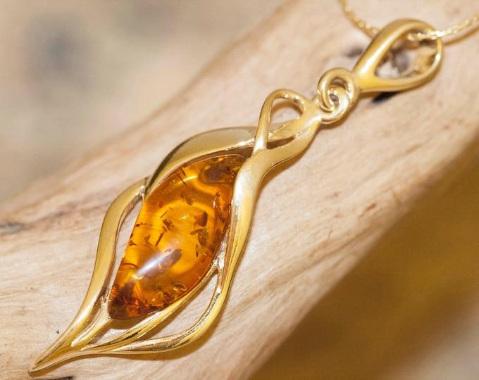 Amber & Gold. Baltic amber pendant, gold necklace. Perfect gift for her. Gold pendant. Amber jewelry. Handmade jewelry. cognac amber pendant