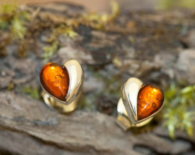 Heart shaped studs. Cognac amber earrings. Sterling silver studs, amber jewelry, small studs, amber earrings, Valentine's Day gift.