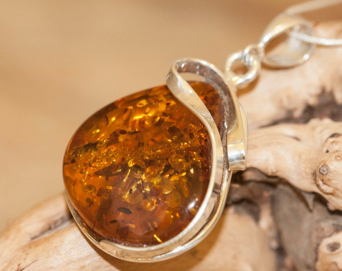 Cognac Amber Pendant in Sterling Silver. Amber necklace, silver pendant. Baltic Amber jewelry. Perfect gift for her. Statement necklace.