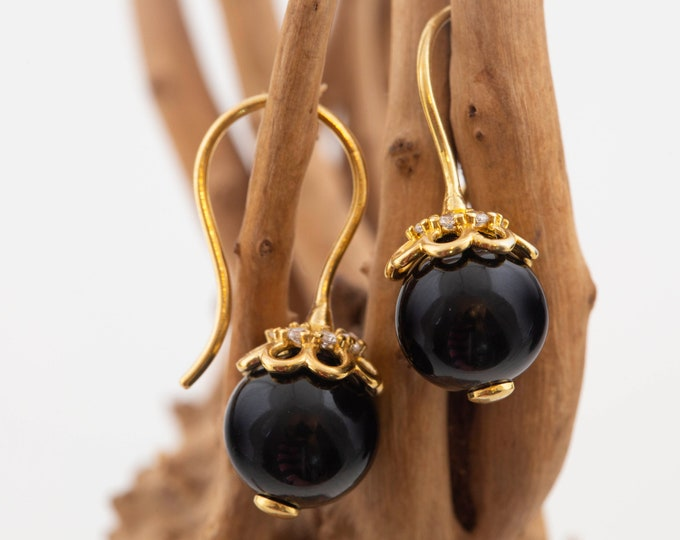 Black Onyx & Gold. Dangle earrings. Onyx spheres. Perfect gift for her. Contemporary jewelry. Cubic Zirconia. Black earrings. Onyx jewelry.