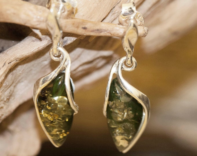 Green Amber Earrings fitted in a Sterling Silver setting. Big silver earrings, amber stone. Perfect gift. Amber jewellery, green amber