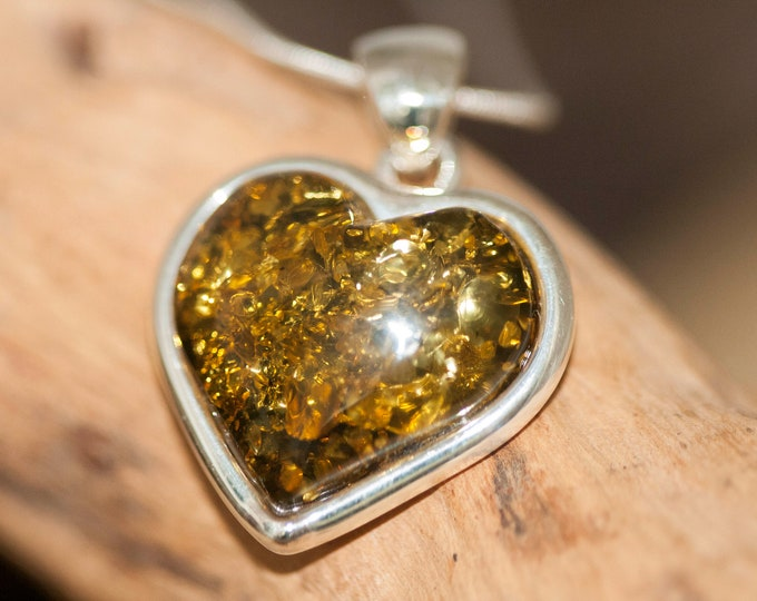 Heart Amber Pendant in Sterling Silver. Green Baltic amber pendant. Baltic Amber jewelry. Perfect gift for her. Heart shaped pendant.