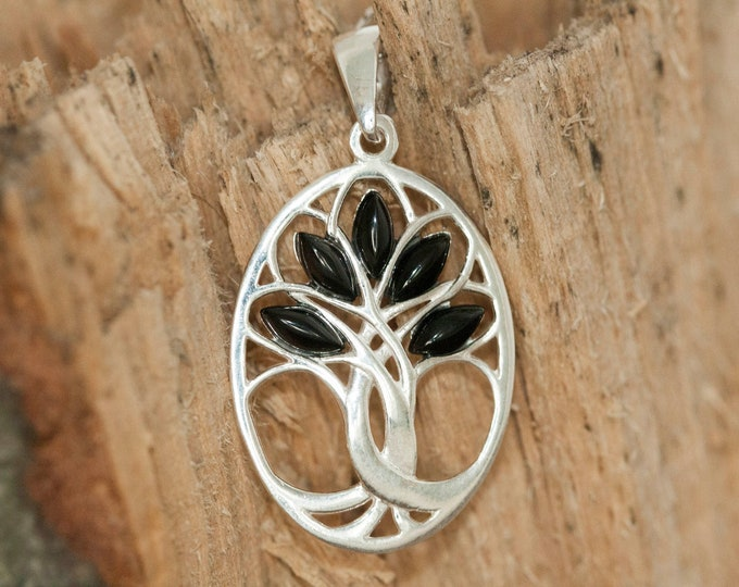 Tree of Life Pendant in Sterling Silver. Whitby Jet pendant. Sterling Silver Pendant, British jewellery. Genuine Whitby Jet. Whitby jet
